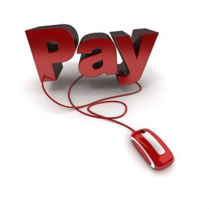 Word pay in red connected to a computer mouse